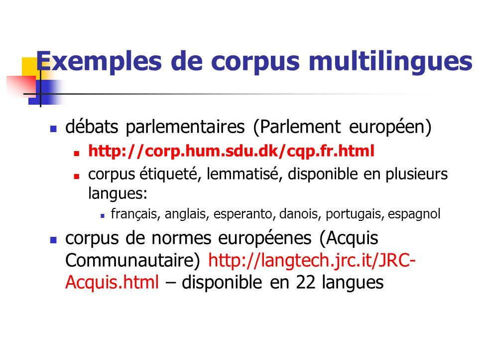Exemples de corpus multilingues débats parlementaires (Parlement européen) http://corp.hum.sdu.dk/cqp.fr.html corpus étiqueté, lemmatisé, disponible e