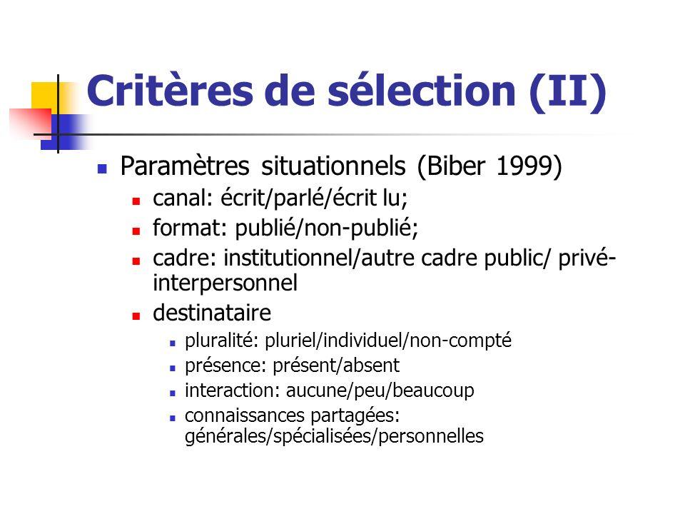 Critères de sélection (II) Paramètres situationnels (Biber 1999) canal: écrit/parlé/écrit lu; format: publié/non-publié; cadre: institutionnel/autre c