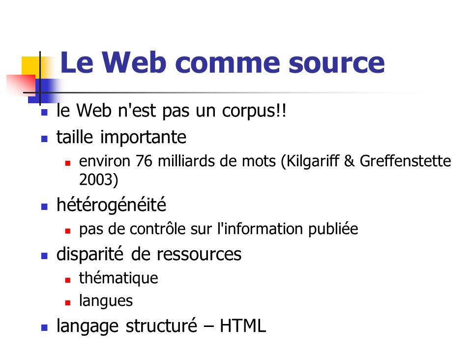 Le Web comme source le Web n'est pas un corpus!! taille importante environ 76 milliards de mots (Kilgariff & Greffenstette 2003) hétérogénéité pas de