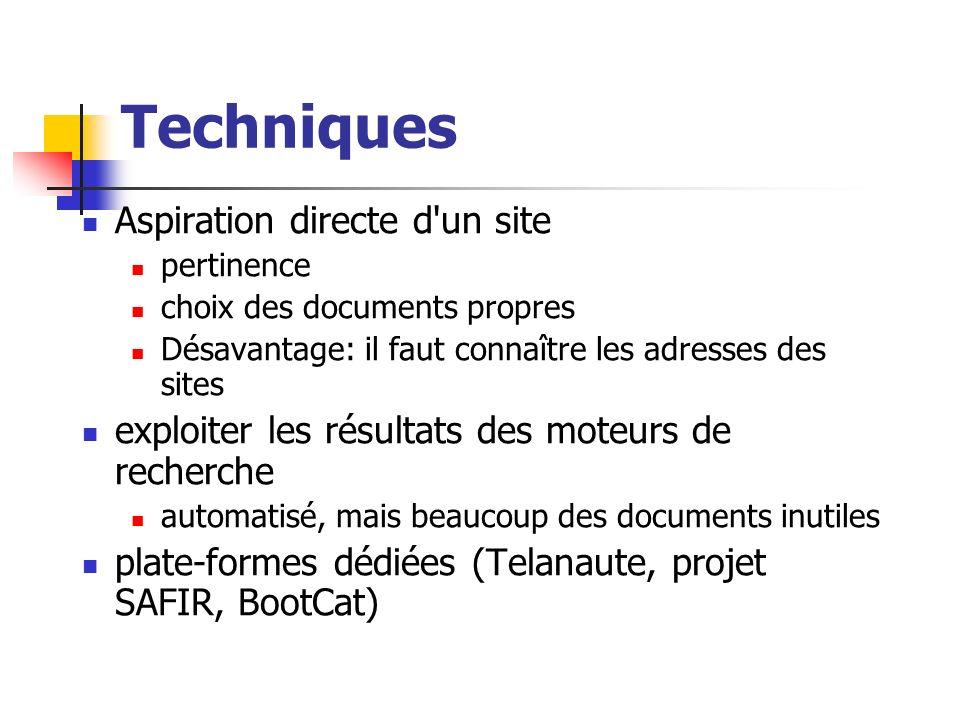 Techniques Aspiration directe d'un site pertinence choix des documents propres Désavantage: il faut connaître les adresses des sites exploiter les rés