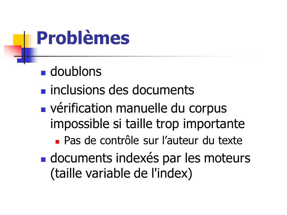Problèmes doublons inclusions des documents vérification manuelle du corpus impossible si taille trop importante Pas de contrôle sur lauteur du texte