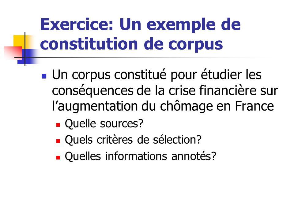 Exercice: Un exemple de constitution de corpus Un corpus constitué pour étudier les conséquences de la crise financière sur laugmentation du chômage e