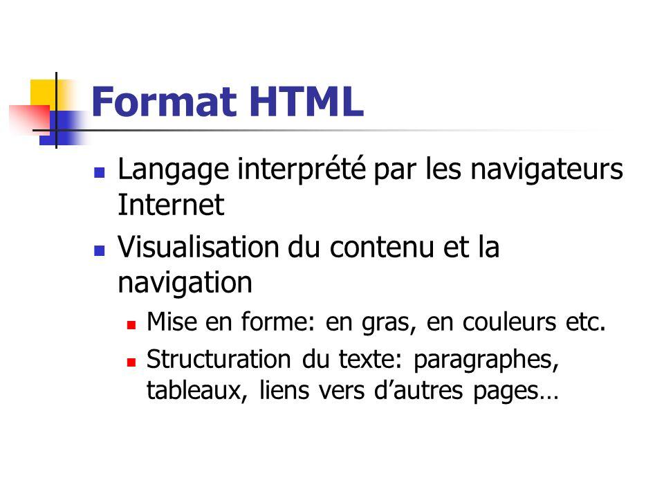 Format HTML Langage interprété par les navigateurs Internet Visualisation du contenu et la navigation Mise en forme: en gras, en couleurs etc. Structu
