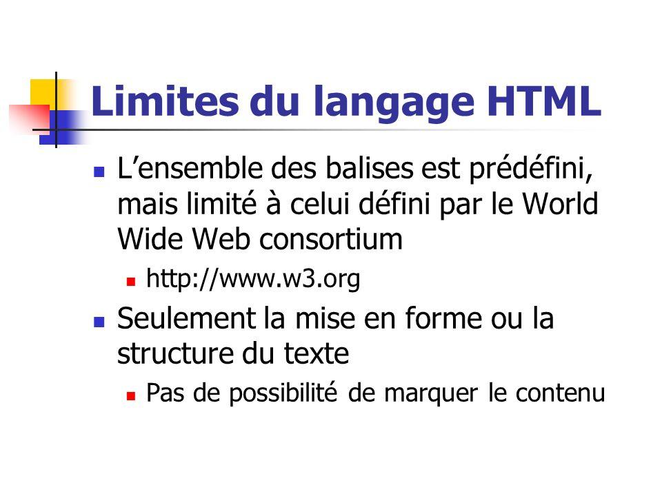 Limites du langage HTML Lensemble des balises est prédéfini, mais limité à celui défini par le World Wide Web consortium http://www.w3.org Seulement l