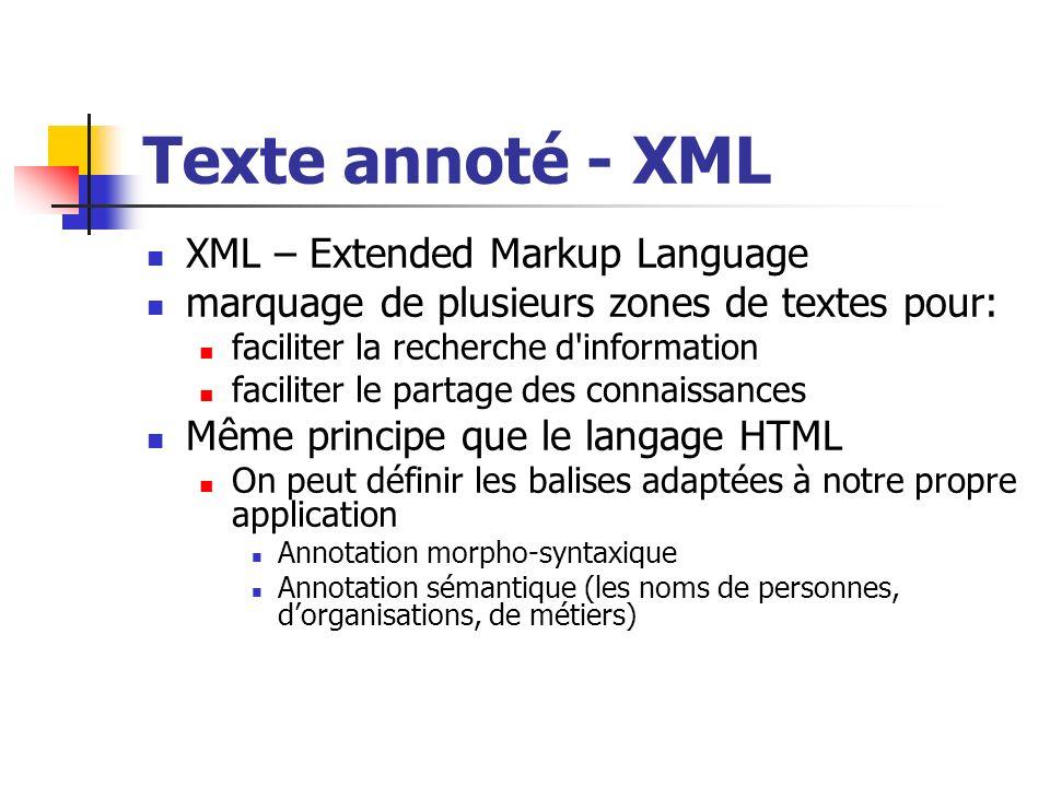 Texte annoté - XML XML – Extended Markup Language marquage de plusieurs zones de textes pour: faciliter la recherche d'information faciliter le partag