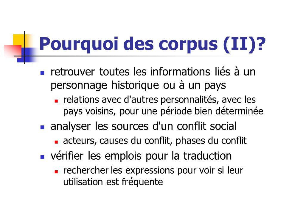 Pourquoi des corpus (II)? retrouver toutes les informations liés à un personnage historique ou à un pays relations avec d'autres personnalités, avec l