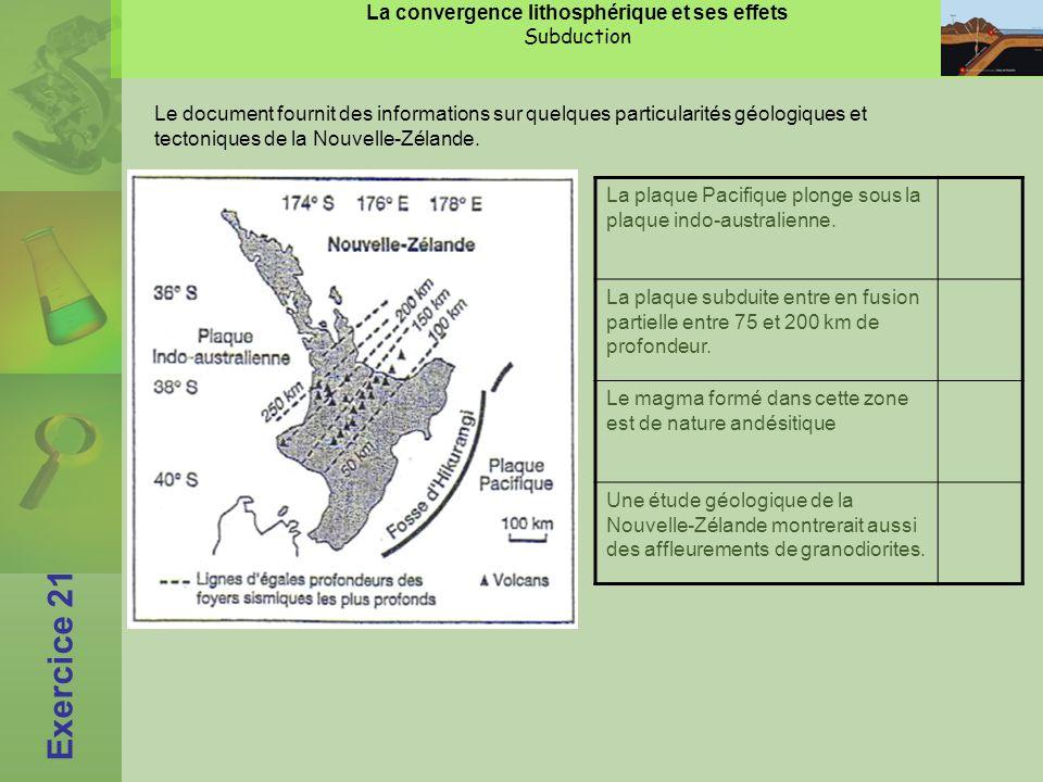 La convergence lithosphérique et ses effets Subduction Exercice 21 Le document fournit des informations sur quelques particularités géologiques et tectoniques de la Nouvelle-Zélande.
