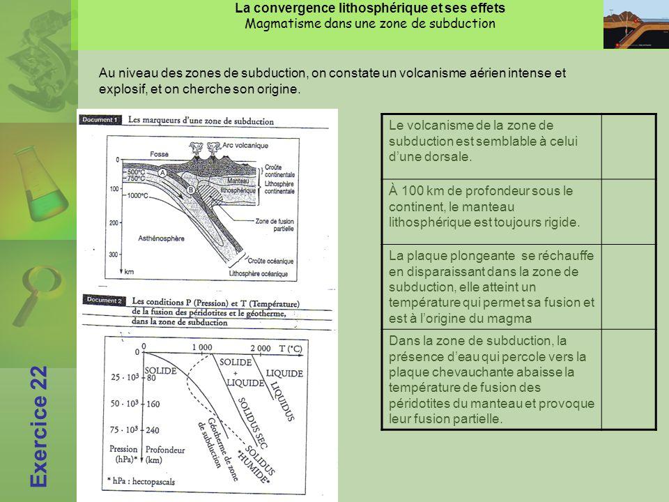 La convergence lithosphérique et ses effets Magmatisme dans une zone de subduction Exercice 22 Au niveau des zones de subduction, on constate un volcanisme aérien intense et explosif, et on cherche son origine.