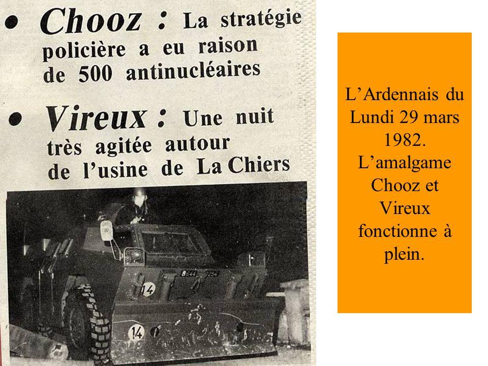 LArdennais du Lundi 29 mars 1982. Lamalgame Chooz et Vireux fonctionne à plein.