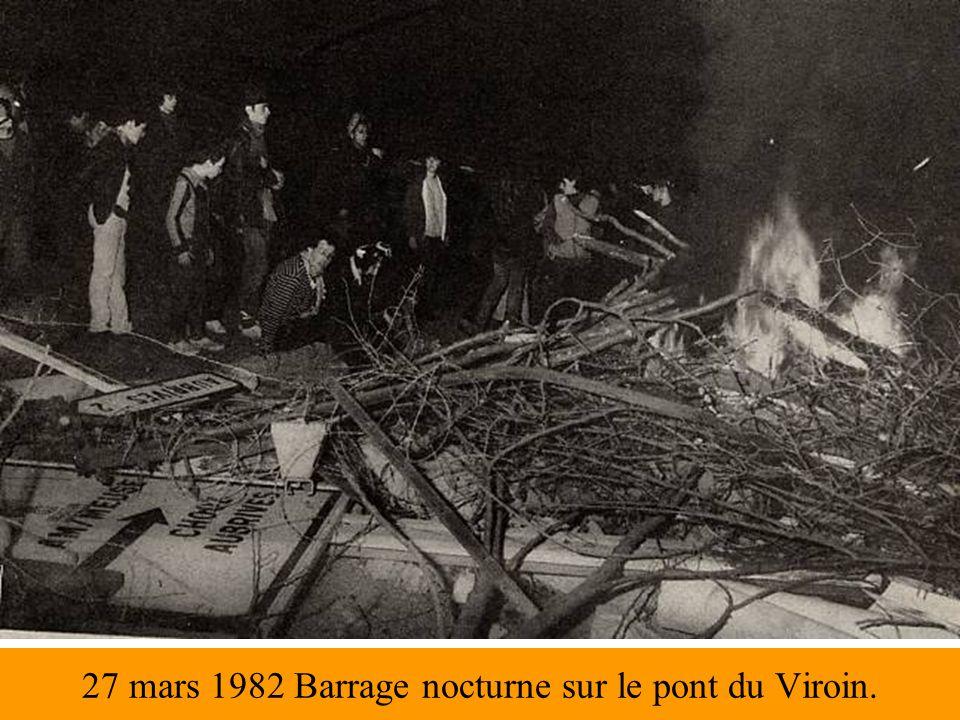 27 mars 1982 Barrage nocturne sur le pont du Viroin.
