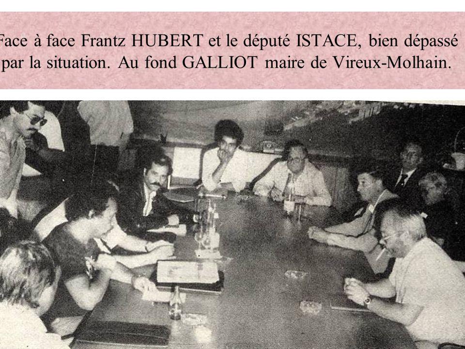 Face à face Frantz HUBERT et le député ISTACE, bien dépassé par la situation. Au fond GALLIOT maire de Vireux-Molhain.