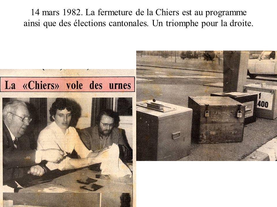 14 mars 1982. La fermeture de la Chiers est au programme ainsi que des élections cantonales. Un triomphe pour la droite.