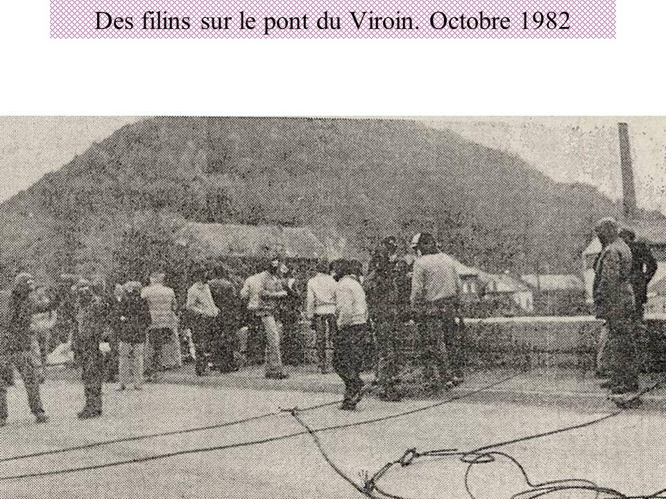 Des filins sur le pont du Viroin. Octobre 1982