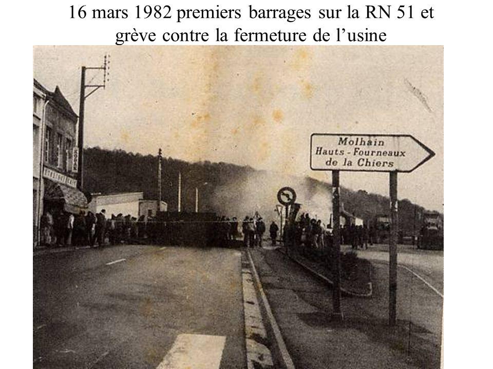 16 mars 1982 premiers barrages sur la RN 51 et grève contre la fermeture de lusine