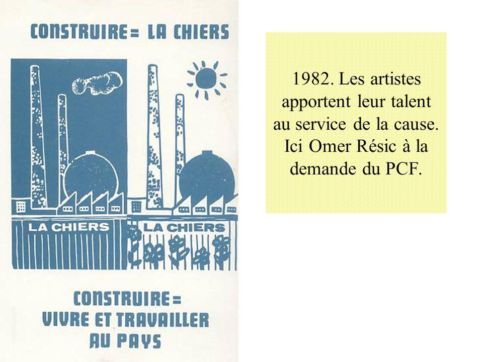 1982. Les artistes apportent leur talent au service de la cause. Ici Omer Résic à la demande du PCF.