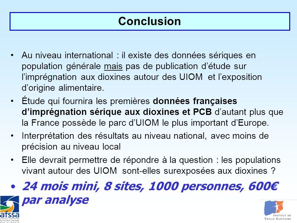 Au niveau international : il existe des données sériques en population générale mais pas de publication détude sur limprégnation aux dioxines autour d