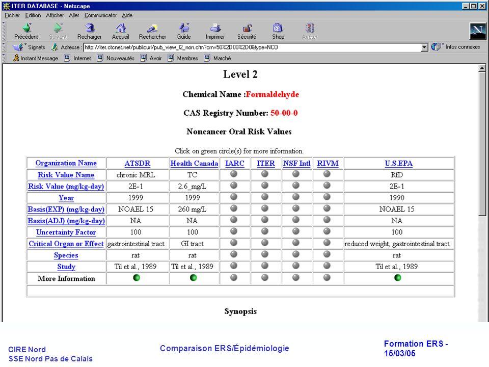 CIRE Nord SSE Nord Pas de Calais Comparaison ERS/Épidémiologie Formation ERS - 15/03/05 LA DÉMARCHE D ERS : Exemple du formaldéhyde(2.1)