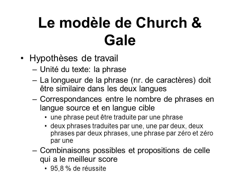 Le modèle de Church & Gale Hypothèses de travail –Unité du texte: la phrase –La longueur de la phrase (nr. de caractères) doit être similaire dans les