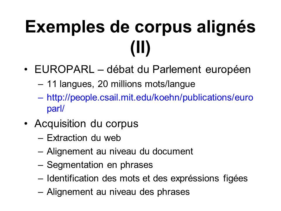 Exemples de corpus alignés (II) EUROPARL – débat du Parlement européen –11 langues, 20 millions mots/langue –http://people.csail.mit.edu/koehn/publica