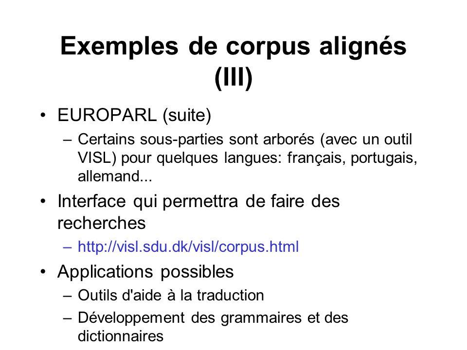 Exemples de corpus alignés (III) EUROPARL (suite) –Certains sous-parties sont arborés (avec un outil VISL) pour quelques langues: français, portugais,