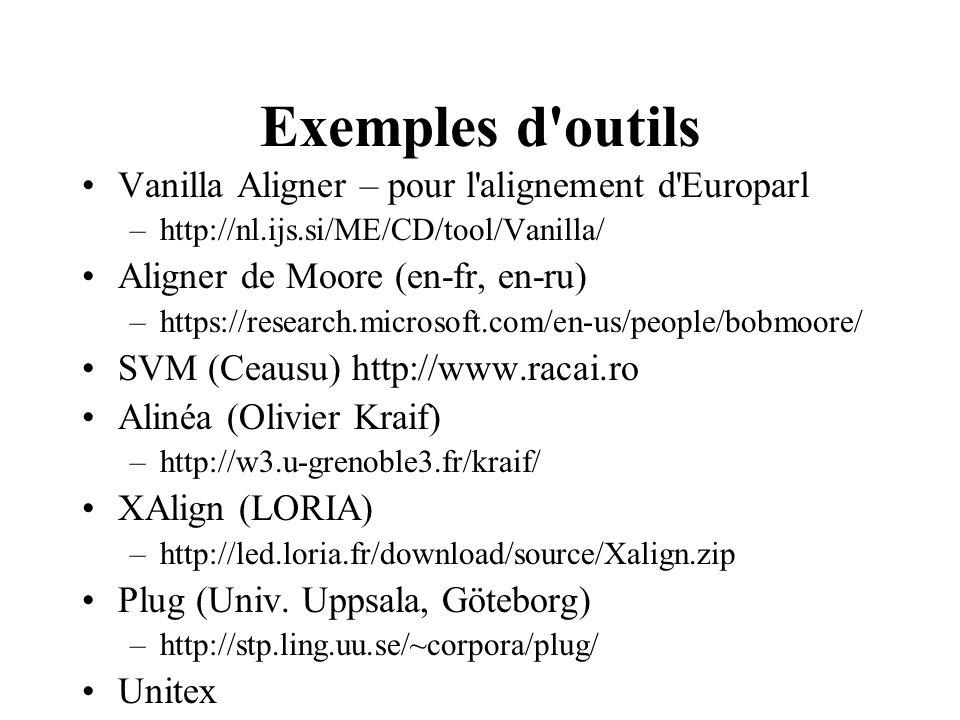 Exemples d outils Vanilla Aligner – pour l alignement d Europarl –http://nl.ijs.si/ME/CD/tool/Vanilla/ Aligner de Moore (en-fr, en-ru) –https://research.microsoft.com/en-us/people/bobmoore/ SVM (Ceausu) http://www.racai.ro Alinéa (Olivier Kraif) –http://w3.u-grenoble3.fr/kraif/ XAlign (LORIA) –http://led.loria.fr/download/source/Xalign.zip Plug (Univ.