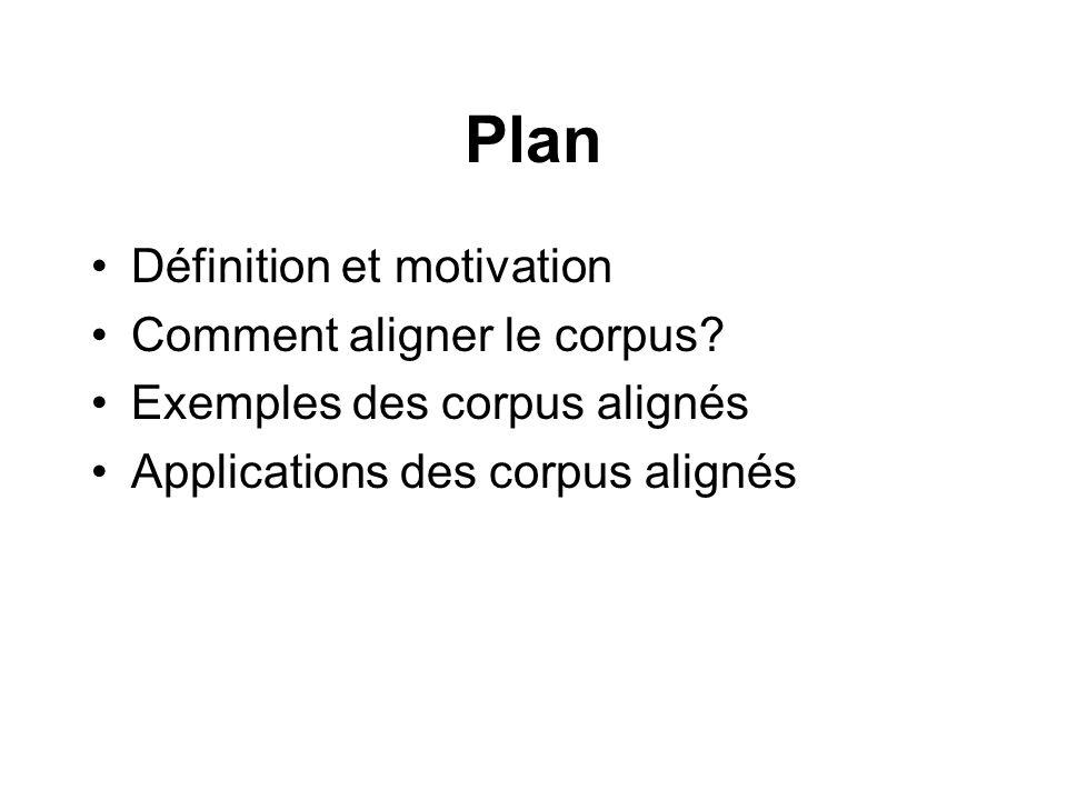 Plan Définition et motivation Comment aligner le corpus? Exemples des corpus alignés Applications des corpus alignés