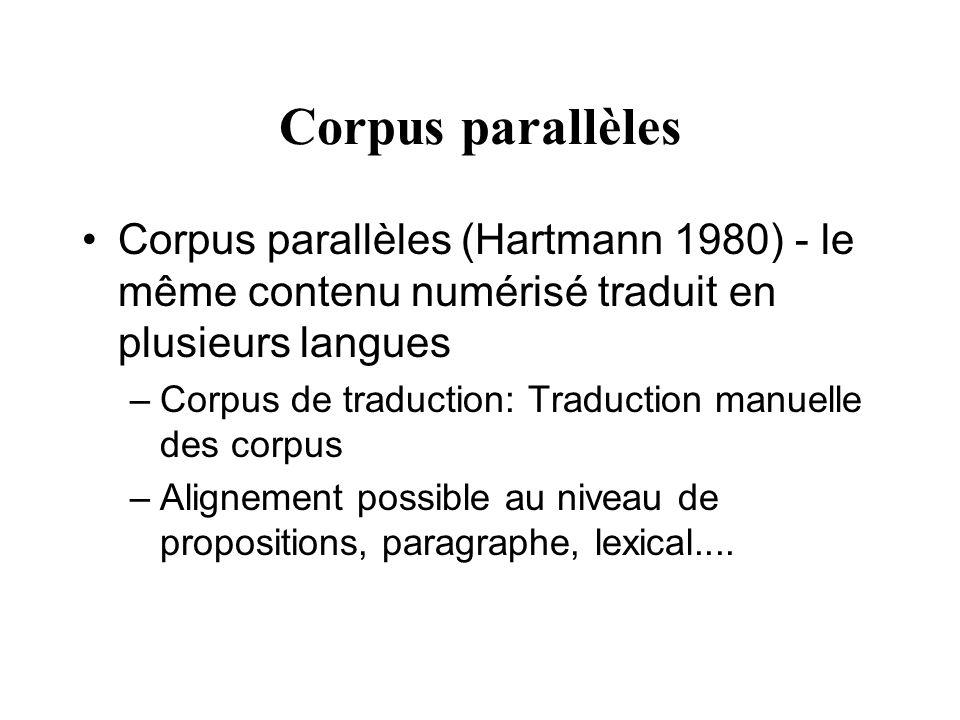 Corpus parallèles Corpus parallèles (Hartmann 1980) - le même contenu numérisé traduit en plusieurs langues –Corpus de traduction: Traduction manuelle