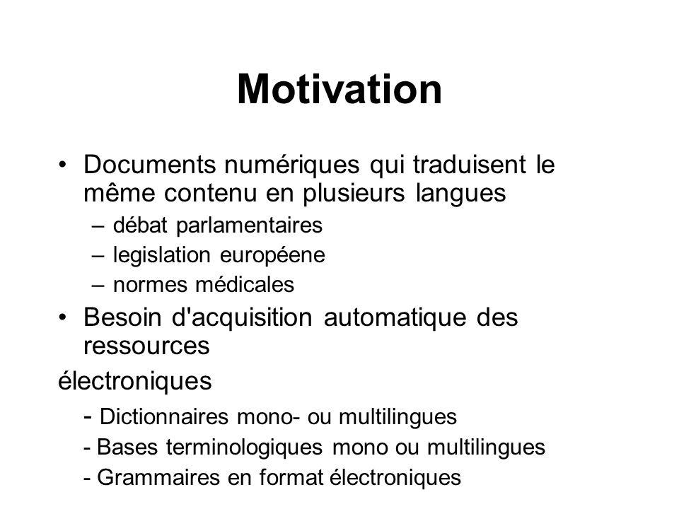 Motivation Documents numériques qui traduisent le même contenu en plusieurs langues –débat parlamentaires –legislation européene –normes médicales Bes