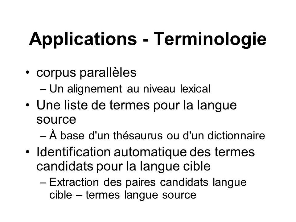 Applications - Terminologie corpus parallèles –Un alignement au niveau lexical Une liste de termes pour la langue source –À base d'un thésaurus ou d'u