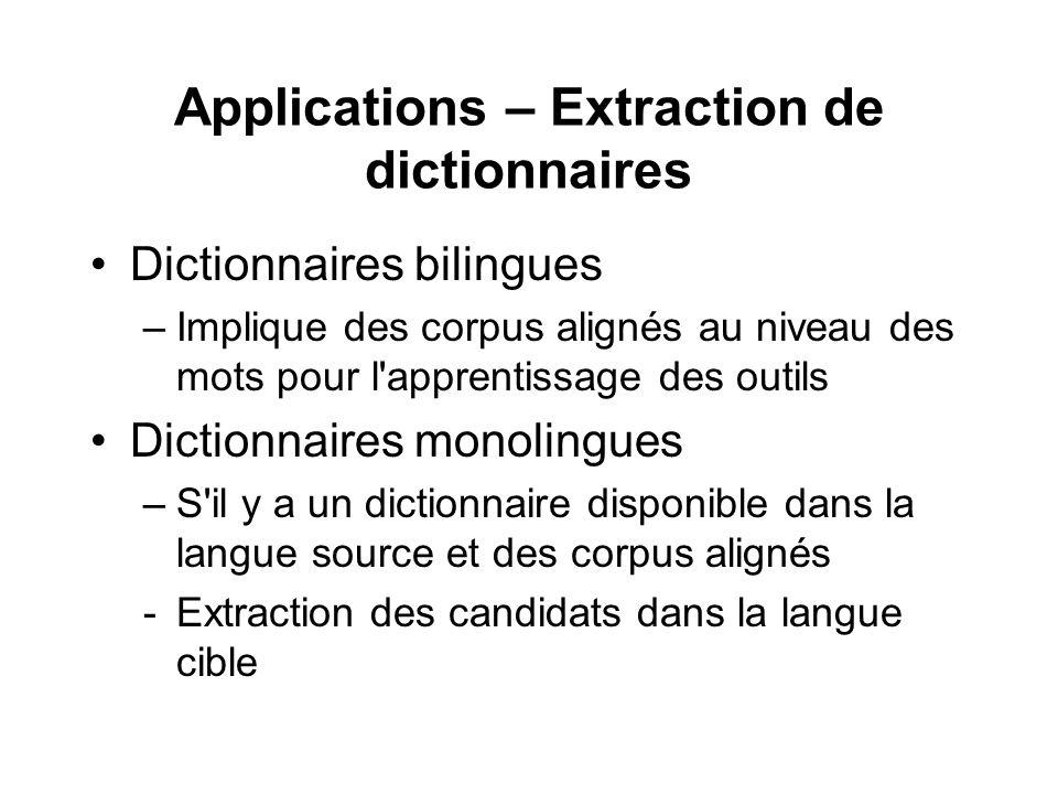Applications – Extraction de dictionnaires Dictionnaires bilingues –Implique des corpus alignés au niveau des mots pour l'apprentissage des outils Dic