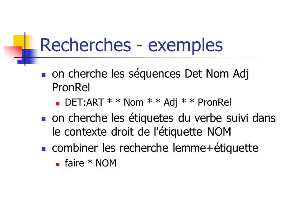 Recherches - exemples on cherche les séquences Det Nom Adj PronRel DET:ART * * Nom * * Adj * * PronRel on cherche les étiquetes du verbe suivi dans le