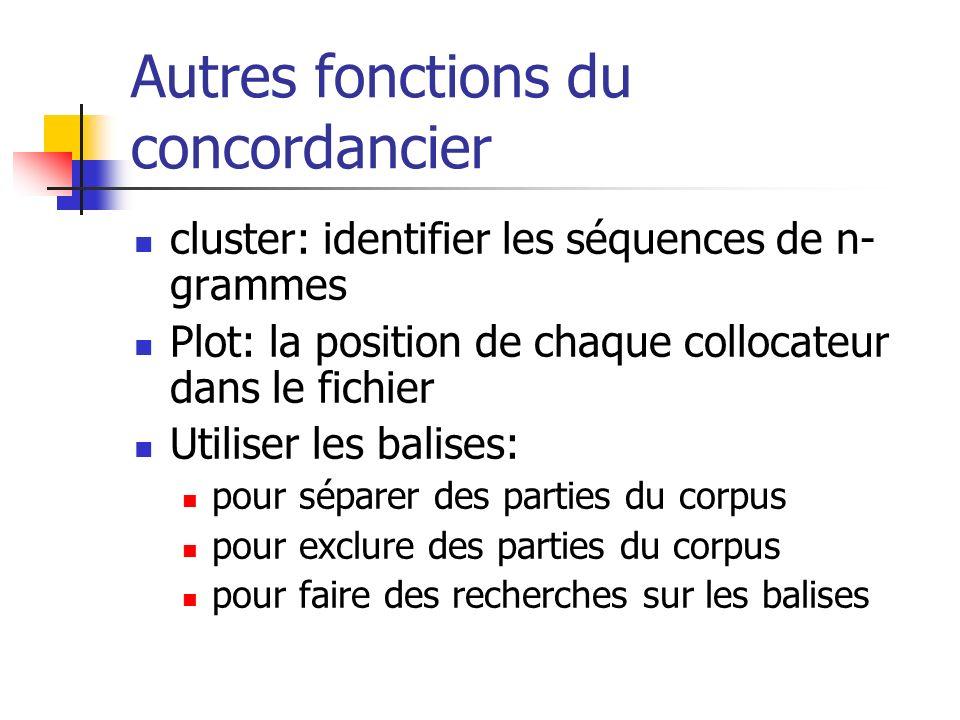 Autres fonctions du concordancier cluster: identifier les séquences de n- grammes Plot: la position de chaque collocateur dans le fichier Utiliser les