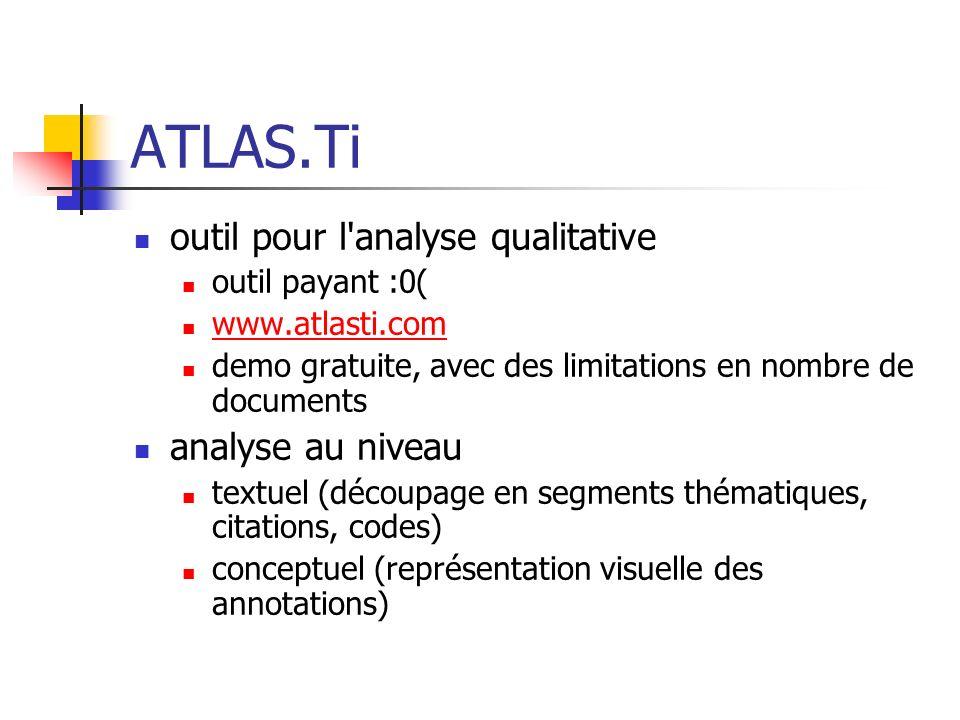 ATLAS.Ti outil pour l'analyse qualitative outil payant :0( www.atlasti.com demo gratuite, avec des limitations en nombre de documents analyse au nivea