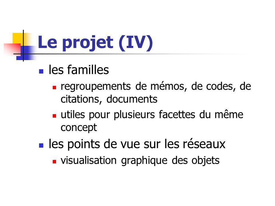Le projet (IV) les familles regroupements de mémos, de codes, de citations, documents utiles pour plusieurs facettes du même concept les points de vue