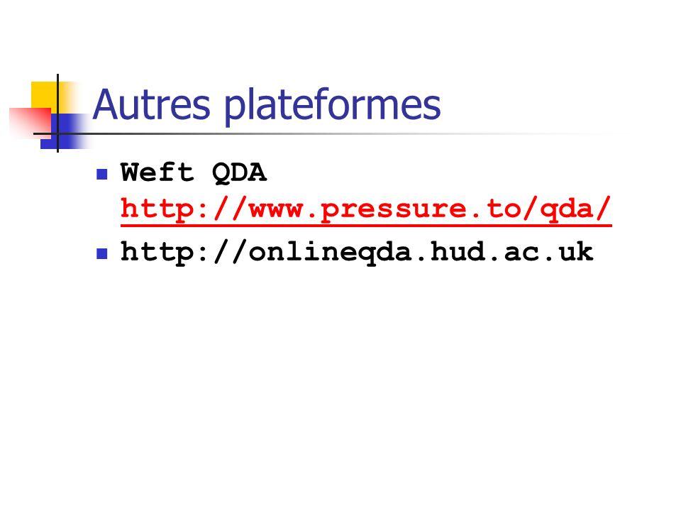 Autres plateformes Weft QDAWeft http://www.pressure.to/qda/ http://www.pressure.to/qda/ http://onlineqda.hud.ac.uk