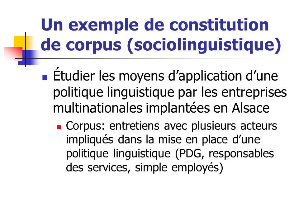 Un exemple de constitution de corpus (sociolinguistique) Étudier les moyens dapplication dune politique linguistique par les entreprises multinational