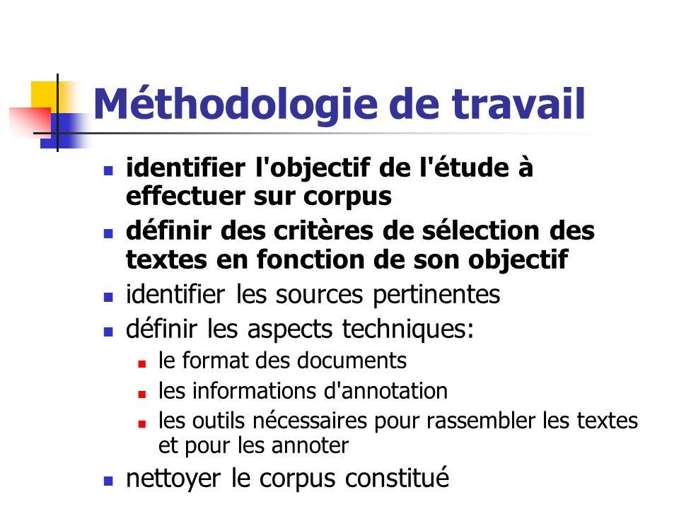 Méthodologie de travail identifier l'objectif de l'étude à effectuer sur corpus définir des critères de sélection des textes en fonction de son object