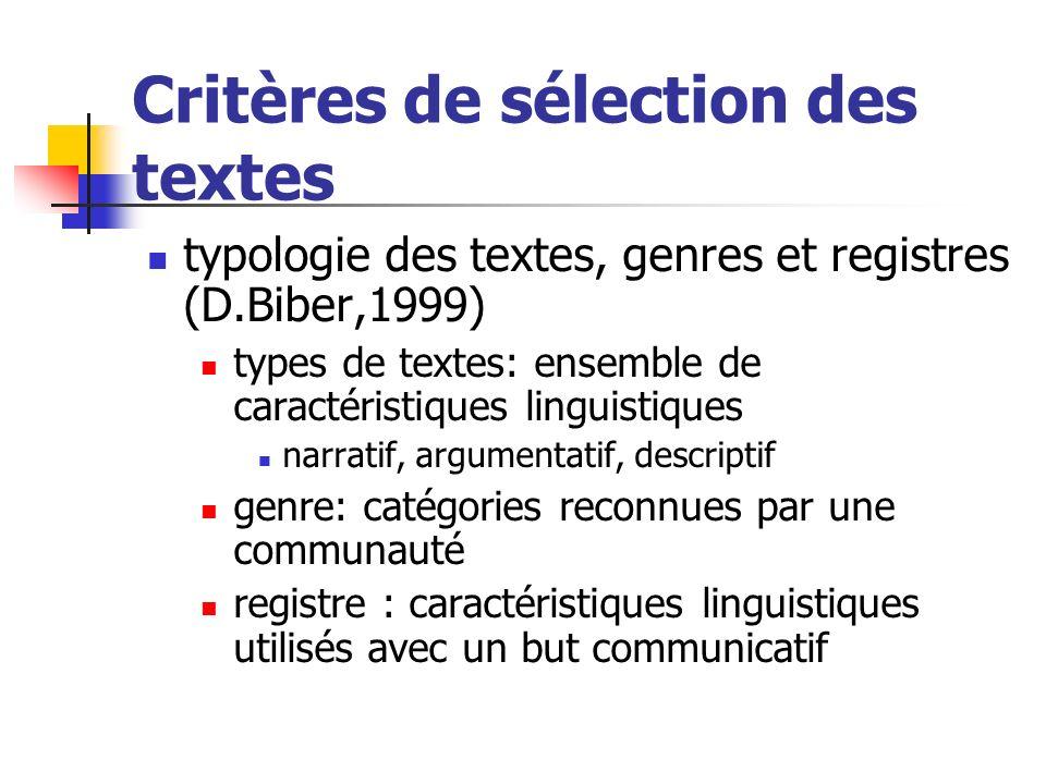 Critères de sélection des textes typologie des textes, genres et registres (D.Biber,1999) types de textes: ensemble de caractéristiques linguistiques