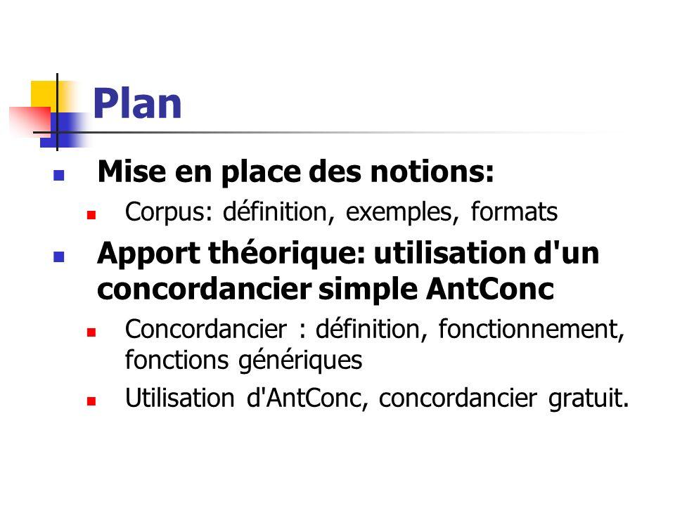 Plan Mise en place des notions: Corpus: définition, exemples, formats Apport théorique: utilisation d'un concordancier simple AntConc Concordancier :