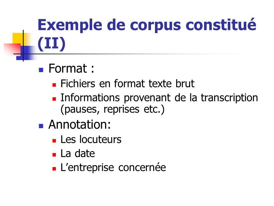 Exemple de corpus constitué (II) Format : Fichiers en format texte brut Informations provenant de la transcription (pauses, reprises etc.) Annotation: