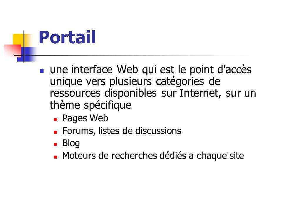 Portail une interface Web qui est le point d'accès unique vers plusieurs catégories de ressources disponibles sur Internet, sur un thème spécifique Pa