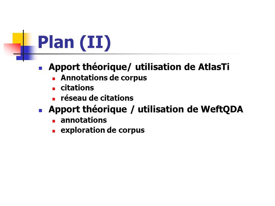Plan (II) Apport théorique/ utilisation de AtlasTi Annotations de corpus citations réseau de citations Apport théorique / utilisation de WeftQDA annot