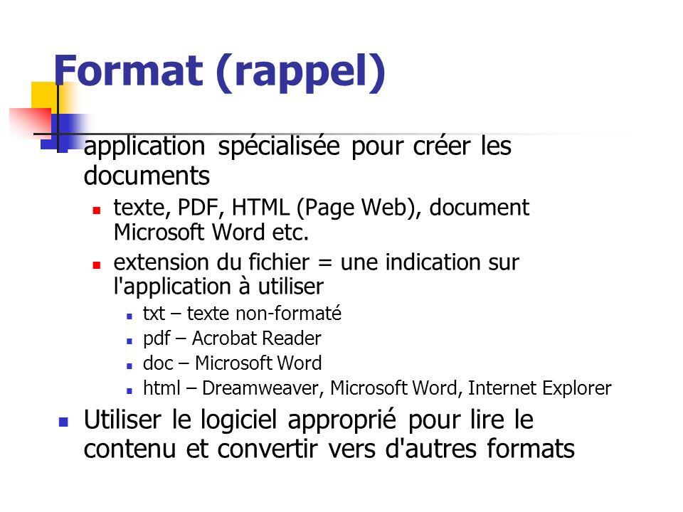 Format (rappel) application spécialisée pour créer les documents texte, PDF, HTML (Page Web), document Microsoft Word etc. extension du fichier = une