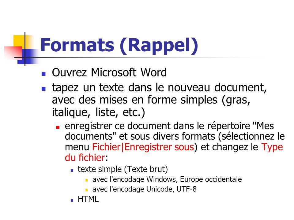 Formats (Rappel) Ouvrez Microsoft Word tapez un texte dans le nouveau document, avec des mises en forme simples (gras, italique, liste, etc.) enregist