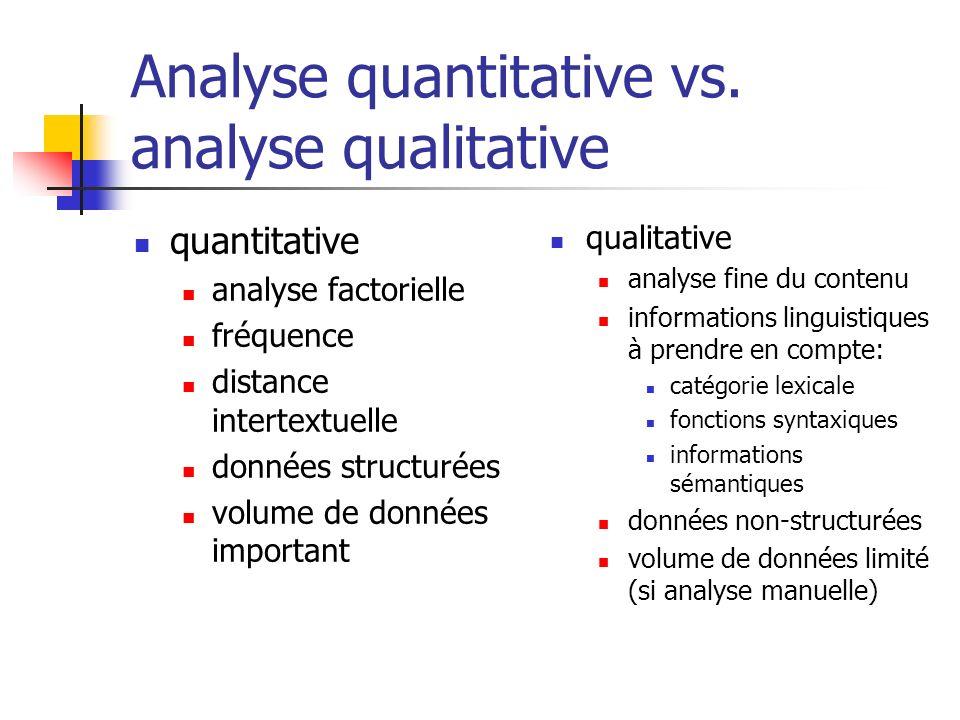 Analyse quantitative vs. analyse qualitative quantitative analyse factorielle fréquence distance intertextuelle données structurées volume de données