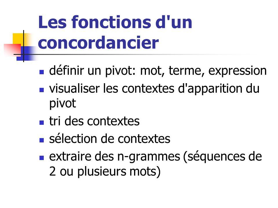 Les fonctions d'un concordancier définir un pivot: mot, terme, expression visualiser les contextes d'apparition du pivot tri des contextes sélection d
