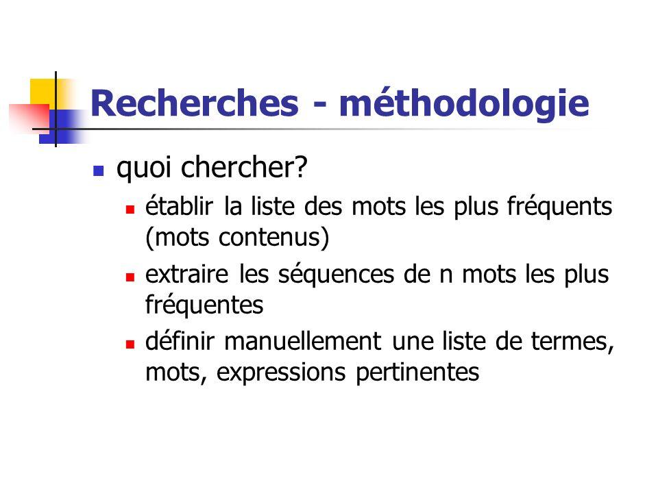 Recherches - méthodologie quoi chercher? établir la liste des mots les plus fréquents (mots contenus) extraire les séquences de n mots les plus fréque