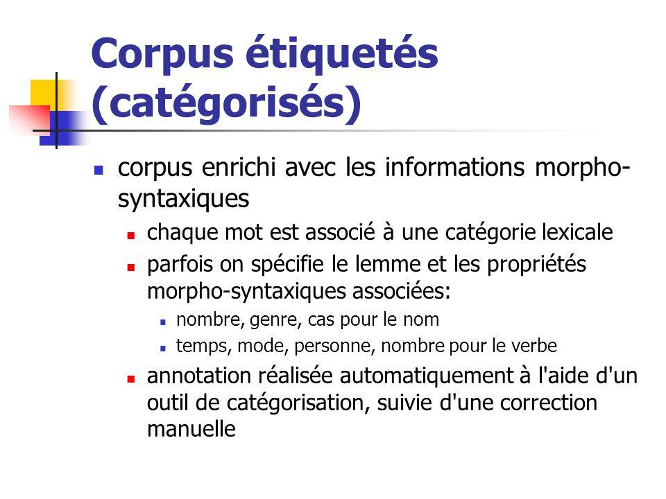 Corpus étiquetés (catégorisés) corpus enrichi avec les informations morpho- syntaxiques chaque mot est associé à une catégorie lexicale parfois on spé