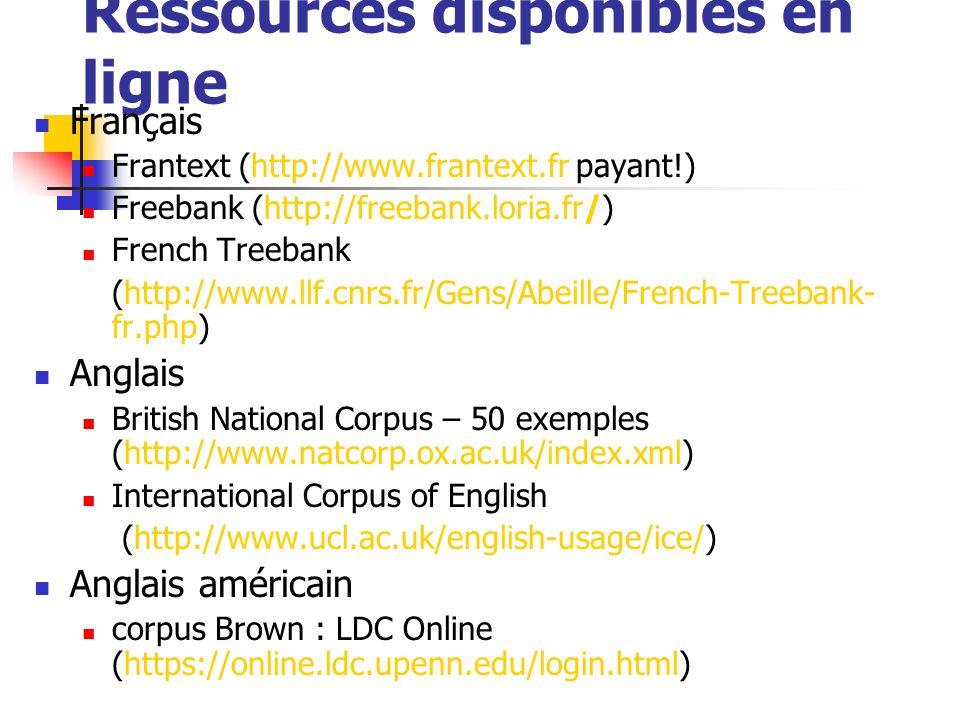 Ressources disponibles en ligne Français Frantext (http://www.frantext.fr payant!) Freebank (http://freebank.loria.fr/) French Treebank (http://www.ll