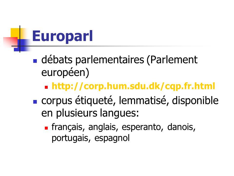 Europarl débats parlementaires (Parlement européen) http://corp.hum.sdu.dk/cqp.fr.html corpus étiqueté, lemmatisé, disponible en plusieurs langues: fr